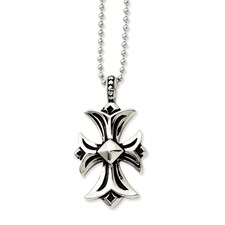 Chisel Stainless Steel Antiqued Fancy Cross Pendant 22 inch Necklace
