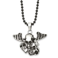Chisel Stainless Steel Antiqued Skulls Pendant 24 inch Necklace