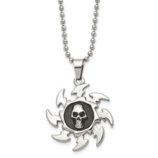 Chisel Stainless Steel Antiqued Saw Blade with  Skull Pendant Necklace