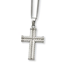 Chisel Stainless Steel Fancy Textured Cross Pendant 22 inch Necklace