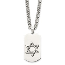 Chisel Stainless Steel Star of David Dog Tag Pendant 24 inch Necklace