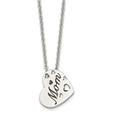 Chisel Stainless Steel Mom Heart Slide Pendant 20 inch Necklace