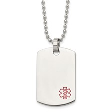Chisel Stainless Steel Dog Tag Medical Pendant 24 inch Necklace