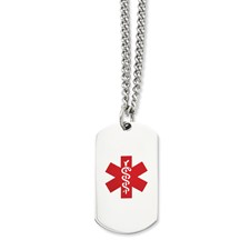 Chisel Stainless Steel Polished Dog Tag Medical Pendant 30 inch Necklace