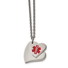 Chisel Stainless Steel Double Heart Medical Pendant 18 inch Necklace