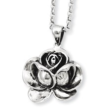 Chisel Stainless Steel Antique Finish Flower Pendant 24 inch Necklace