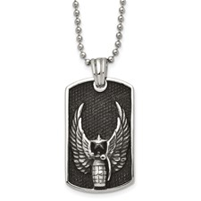 Chisel Stainless Steel Antiqued Wings Dog Tag Pendant 22 inch Necklace