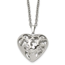 Chisel Stainless Steel Puffed Heart 20 inch Necklace