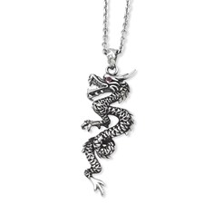Chisel Stainless Steel Antiqued Dragon with Red CZ Eye 20 inch Necklace with extension