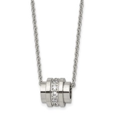 Chisel Stainless Steel CZ Pendant 20 inch Necklace