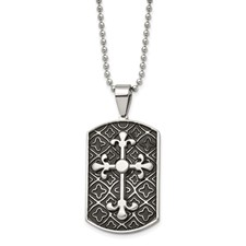 Stainless Steel Black Enamel & Cross Dog Tag Necklace
