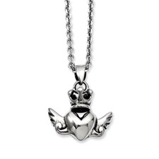 Chisel Stainless Steel Heart Crown and Wings 20 inch Necklace