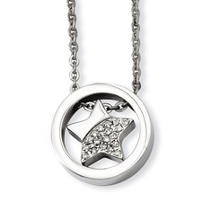 Chisel Stainless Steel CZ Star Circle 18 inch Necklace