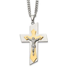 Chisel Stainless Steel Polished and Gold-plated Crucifix Pendant 24 inch Necklace