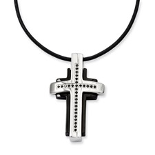 Chisel Stainless Steel Black-plated and Black Diamond 18 inch Cross Necklace