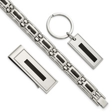 Chisel Stainless Steel Enameled Bracelet, Money Clip and Key Chain Set
