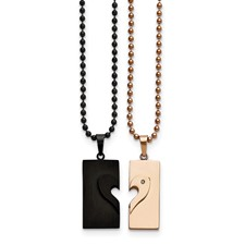 Stainless Steel Black IP-plated & Pink IP-plated Necklace Set