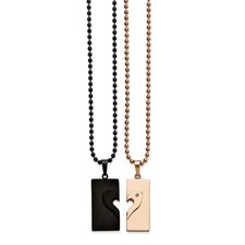 Stainless Steel Black IP-plated and Pink IP-plated Necklace Set