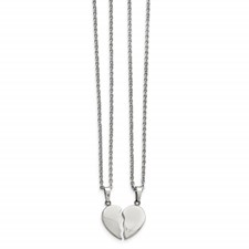 Stainless Steel Polished 1/2 Heart Necklace Set