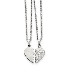 Stainless Steel 1/2  Heart Brushed & 1/2 Heart Crystal Necklace Set