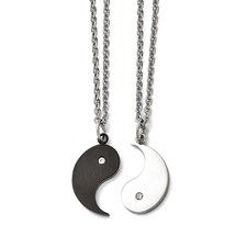 Stainless Steel 1/2 Black IP-plated Yin w/CZ & 1/2 Yang Necklace Set