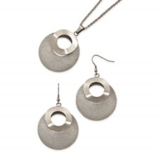 Stainless Steel Brushed and Polished Laser Cut Necklace/Earring Set
