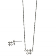 Stainless Steel Polished HashTag 16in w/2in ext. Necklace and Earring Set