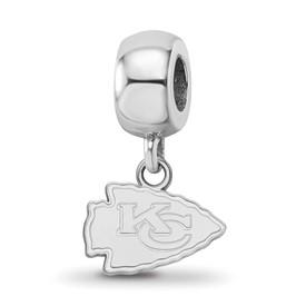 SS Rhodium-plated NFL LogoArt Kansas City Chiefs Extra Small Dangle Charm