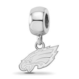SS Rhodium-plated NFL LogoArt Philadelphia Eagles Small Dangle Charm