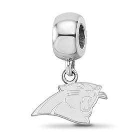 SS Rhodium-plated NFL LogoArt Carolina Panthers Extra Small Dangle Charm