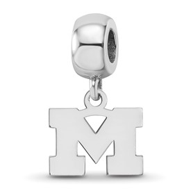 Sterling Silver Rh-plated LogoArt Michigan (Univ Of) XS Dangle Bead Charm
