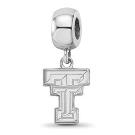 Sterling Silver Rh-plated LogoArt Texas Tech University Small Dangle Bead