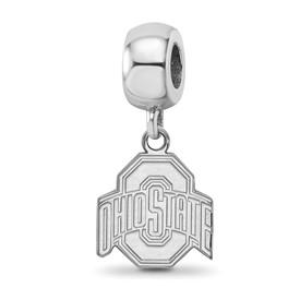 Sterling Silver Rh-plated LogoArt Ohio State University Small Dangle Bead