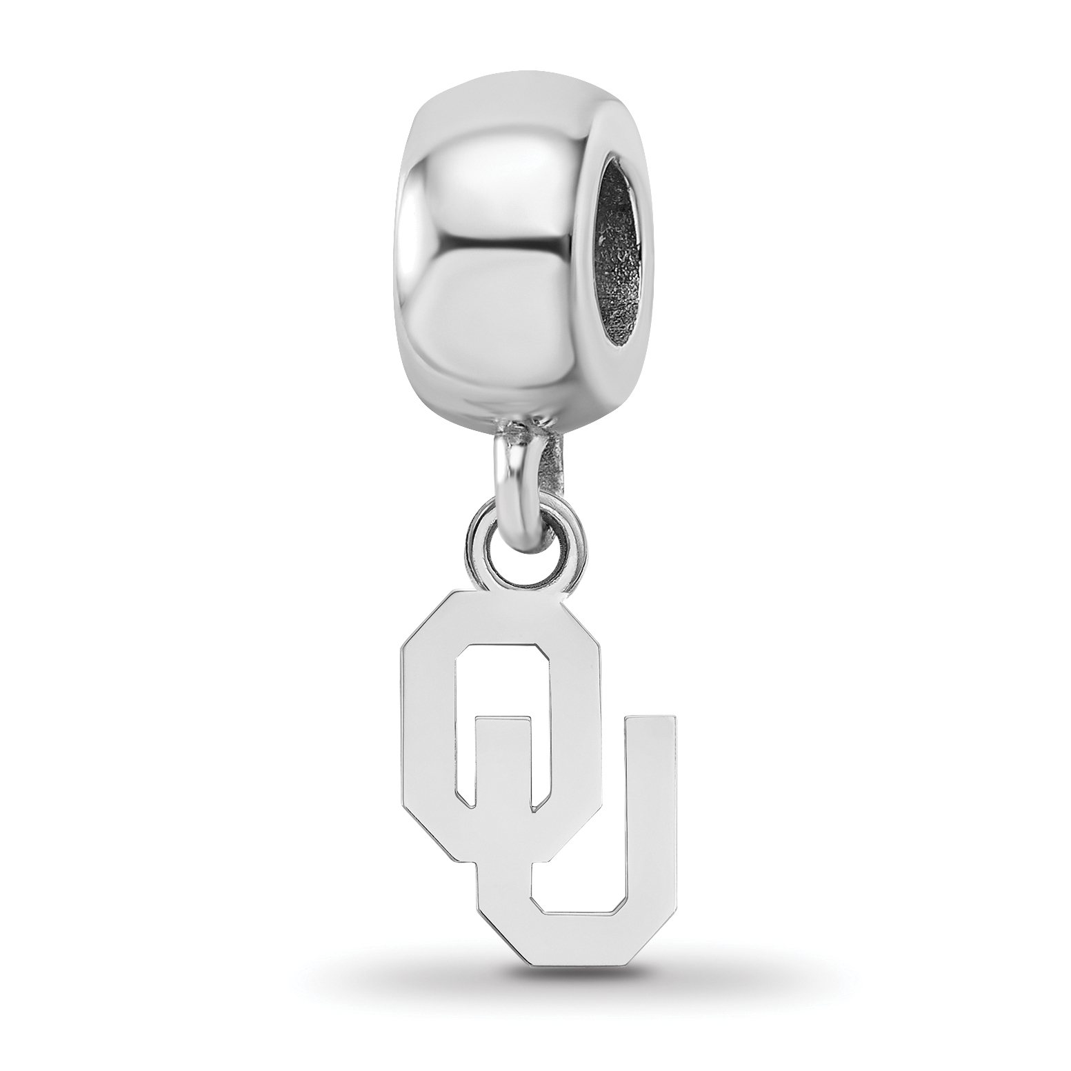 Sterling Silver Rhodium-plated Laser-cut The University of Alabama Cushion Shaped Double Logo Bead Charm