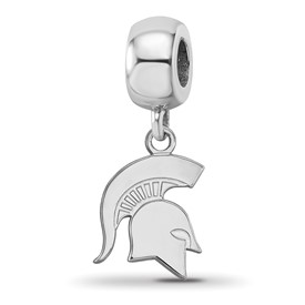 Sterling S. Rh-p LogoArt Michigan State University Small Dangle Bead
