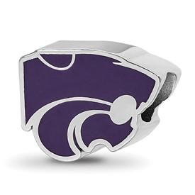 Sterling Silver LogoArt Kansas State University Enameled Logo Bead