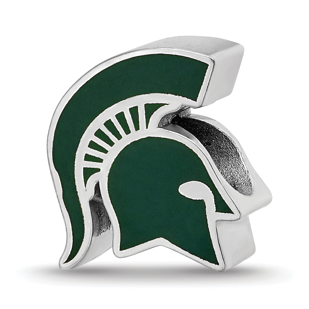 Sterling Silver Rhodium-plated Laser-cut Michigan State University Cushion Shaped Double Logo Bead Charm