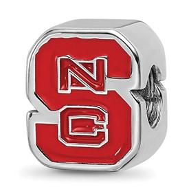 Sterling Silver LogoArt North Carolina State U Enameled Logo Bead