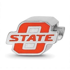 Sterling Silver LogoArt Oklahoma State University O-State Enameled Logo Bea