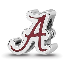 Sterling Silver LogoArt The U of Alabama Script Alabama A Enameled Logo Bea