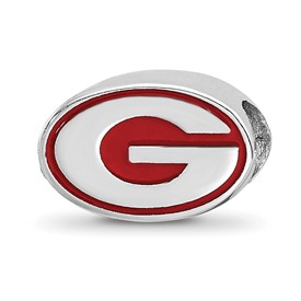 Sterling Silver LogoArt University of Georgia G Enameled Logo Bead