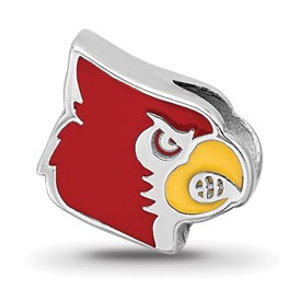Sterling Silver LogoArt University of Louisville Cardinal Enameled Logo Bea