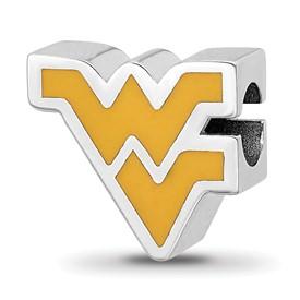 Sterling Silver LogoArt West Virginia University WV Enameled Logo Bead