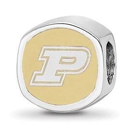 Sterling Silver Purdue University Cushion Shaped Enameled Bead