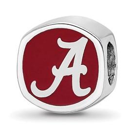 Sterling Silver LogoArt The U of Alabama Cushion Shaped Logo Bead