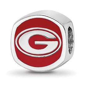 Sterling Silver LogoArt University of Georgia Cushion Shaped Logo Bead