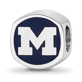 LogoArt Sterling Silver Rhodium-Plated Enameled University Of Michigan Cushion Shaped Bead