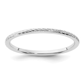 14K White Gold 1.2mm Twisted Wire Pattern Stackable Band