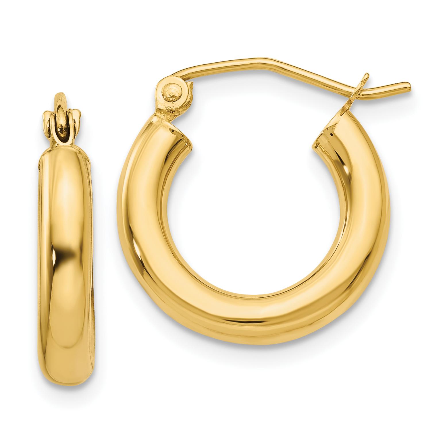 14k Gold Gold Satin /& Diamond-cut 2mm Round Tube Hoop Earrings 0.7 gm for Women