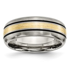 Chisel Titanium 14k Gold Inlay 8mm Brushed and Antiqued Band